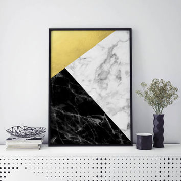 Marble Collage Art Print - INSTANT DOWNLOAD, Printable Art, Marble Art, Scandinavian Art, Abstract, Modern Art, Home Decor, Gold Art