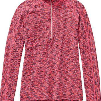 Athleta Womens Mendoza Half Zip 2 Size XXS - Coralade space dye/granite gray
