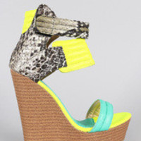 Women's Neon Colorblock Snake Quilted Open Toe Platform Wedge