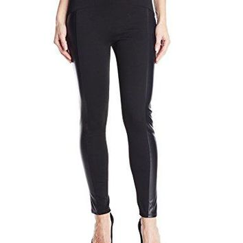BCBGeneration Womens Seamed Faux Leather Panel Legging