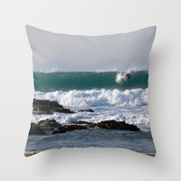 Surfers at Porthtowan Cornwall Throw Pillow by Cornish Seascapes