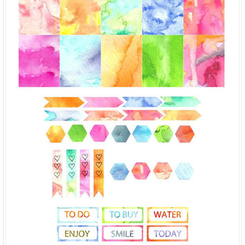 Watercolor Planner Stickers