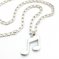 Music Notes Necklace, Sterling Silver Eighth Notes Necklace, Silver Minimalist Jewelry, Music Necklace, Sterling Silver Charm