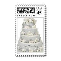 Silver and Cream Rose Wedding Cake Stamps from Zazzle.com