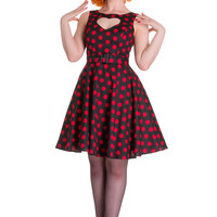 Hell Bunny Rockabilly Pinup Black Red Polka Dot Heart Cut Out Mini Party Dress