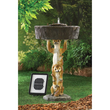 PLAYFUL MEERKAT SOLAR FOUNTAIN