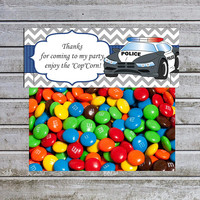 Treat Bag Toppers Candy Bag Toppers Favor Bags Toppers Printable Police Car Boy Baby Shower Birthday (cp2) Instant Download