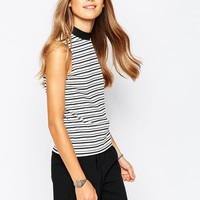 Only Striped High Neck Top at asos.com