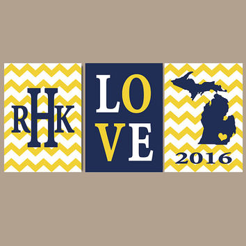 University of Michigan Wall Art, Custom College Monogram Initial State LOVE Gift, Gift for Graduate, Wedding Gift, GO BLUE, Canvas or Print