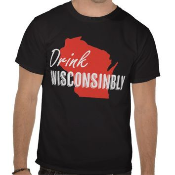 Drink Wisconsinbly Red and White State T-shirt from Zazzle.com