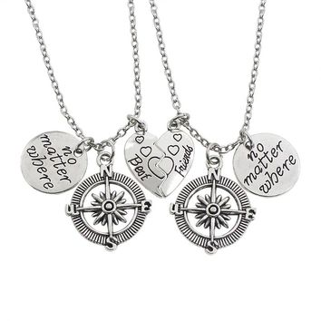 2pcs Best Friends Necklace Women Vintage Love Heart No Matter Where Compass Necklaces Pendants Long Distance Friendship Jewelry