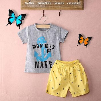 Kids Summer Style Baby Boys Anchor Letters Cotton Casual T-shirt Shorts Baby Casual 2Pcs Set