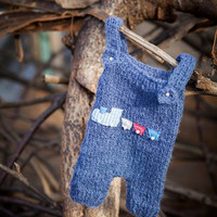 Denim Knit Romper / Newborn Photo Props