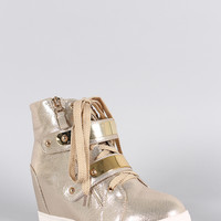 Metallic Zipper High Top Lace Up Wedge Sneaker