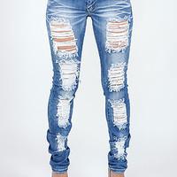 Shop Trendy Juniors Destroyed Skinny Jeans