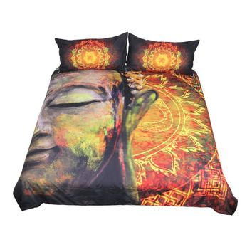 BeddingOutlet Buddha Bedding Set Duvet Cover Set Aura Bedclothes 3-Piece Lotus Flower Buddhist Faith Home Textiles