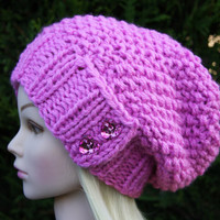 Hand Knit Hat Women's Hat- Hand knitted- pink slouchy beanie-  hat with heart shaped sparkle pink buttons