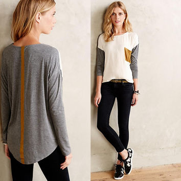 Patchwork Long Sleeve Round-neck Winter Stylish With Pocket T-shirts [9342351556]