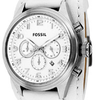 FOSSIL Asher Chronograph White Leather Men's Watch BQ1035