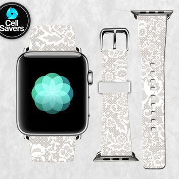 White Lace Flowery Lacey Floral Fancy Gray White Cute Apple Watch Band Leather Strap iWatch for 42mm and 38mm Size Metal Clasp Watch Print