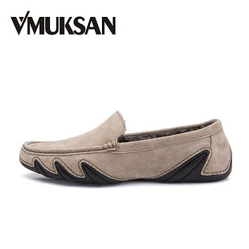 VMUKSAN Hot Sale Men Shoes Fashion Comfortable Casual Mens Winter Shoes Pig Suede Leather Male Loafers