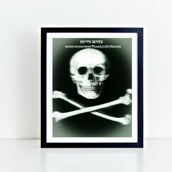 Printable Wall Art, Gothic Print, Human Skull, Halloween Art, Day Of The Dead