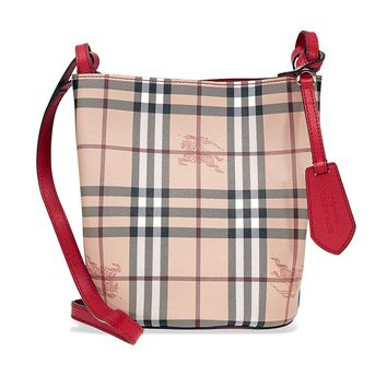 Burberry Lightweight Leather and Haymarket Check Bucket Bag- Red