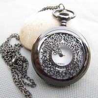 Victorian Steampunk Black Hollow Pocket Watch Necklace charm necklace