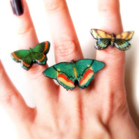 Set of three green butterfly rings/Wooden laser cut decoupaged rings/Wooden butterfly/Wood jewelry/Insects and bugs jewelry