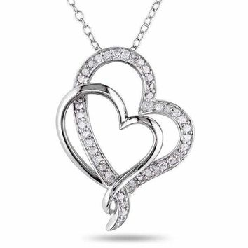 Double Heart Interlocking Sterling Silver 1/4ct TDW Diamond Necklace For Women