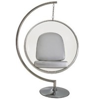 LexMod Eero Aarnio Style Bubble Chair With Silver Pillows