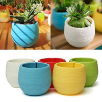 Candy Colourful Mini Round Plastic Plant Flower Pot Home Office Planter EWUK