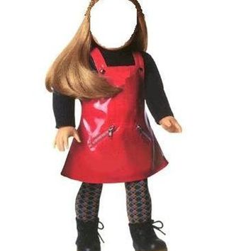 ``Red Vinyl Jumper Outfit`` for 18`` American Girl Doll