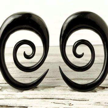 "Ear Plugs Oval Spiral Piercing Earrings Horn Expanders Gauges  16g 14g 12g 10g 8g 6g 4g 2g 0g 00g 1/2""- GA013 H G1"