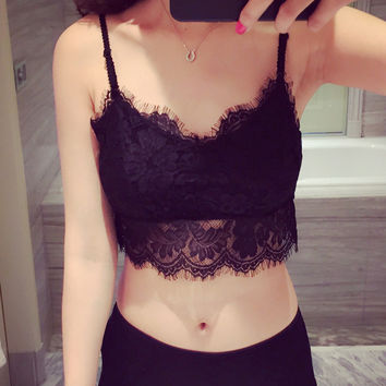 Summer Fashion Women Tube Tops Sexy Lace Bra Crop Tops Short Tank Halter Top Intimates with Chest Pad