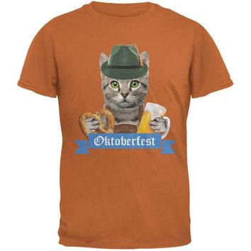 DCCKJY1 Oktoberfest Funny Cat Texas Orange Adult T-Shirt