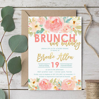 Brunch & Bubbly Bridal Shower Invitation - Watercolor, Pink, Coral, Blush, Gold - Digital or Printed