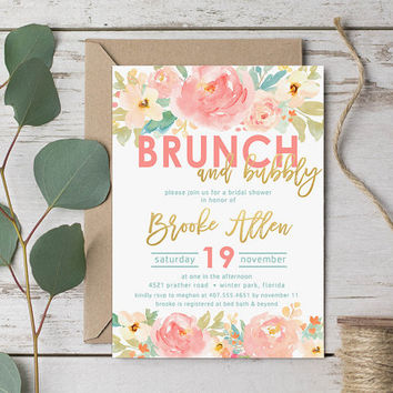 fffe1a8cfade Brunch   Bubbly Bridal Shower Invitation - Watercolor