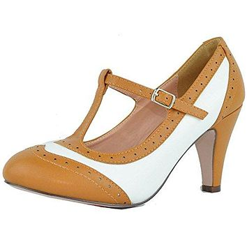 Chase amp Chloe Womens TStrap Oxford Mary Jane Pump