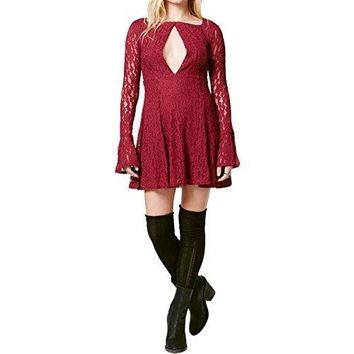 Free People Womens Teen Witch Lace Long Sleeves Mini Dress