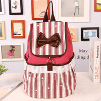 Fashion Bowknot Striped Lace Backpack