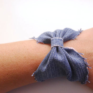 Recycled DENIM Bow Bracelet Leather Wrist Cuff Jewelry Rough Finishing Teen Jewellery