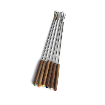 Mid century Modern teak fondue forks Set of 6  Stainless steel Japan Retro Kitchen