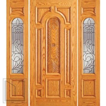 Prehung Mahogany Arch Lite Entry Two Side lights Door