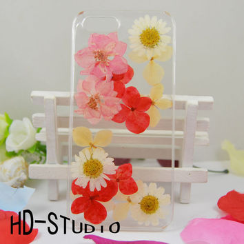 Pressed real flower iphone 6/6s/ 6s plus case, iphone 5/ 5s case real flower iphone 5 /5c / 4 case - lovely pink Delphinium and white daisy