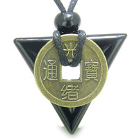 Amulet Triangle Powers Lucky Coin Charm Black Agate Arrowhead Healing Pendant Necklace