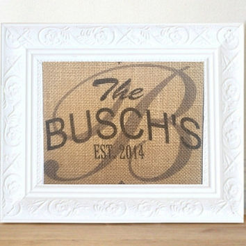 Personalized Wedding Gift, Personalized Family Sign, Housewarming Gift, Anniversary, Burlap Print, Established Sign, Last name Wall Art