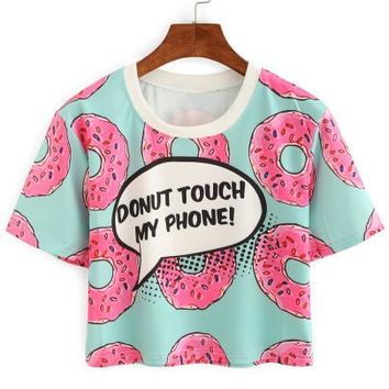 Donut touch my phone crop top