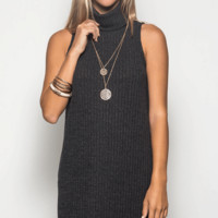 Sleeveless Turtleneck Sweater Dress