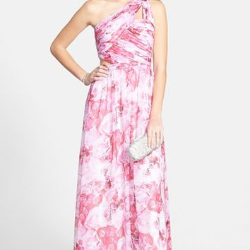 Women's Aidan by Aidan Mattox Print Cutout One-Shoulder Chiffon Gown